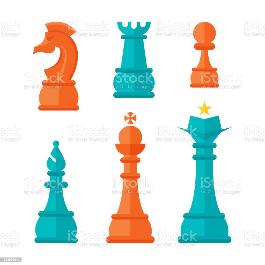 Flat Design Chess Units vector art illustration
