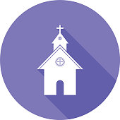 Flat Design Church Icon with Long Shadow