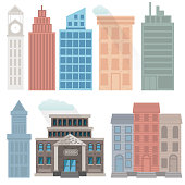 a set of buildings to create your own cityscape. The only transparency is the cloud. All other elements are flat color. CMYK