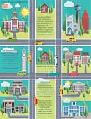 Flat Design Cityscape Infographic. Color buildings of different shapes and sizes with roads, clouds and trees.