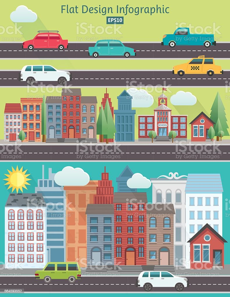 Flat Design Cityscape Infographic vector art illustration