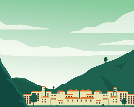 Flat Design Cityscape with Mountains