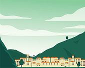 City, Mountain, Landscape - Scenery, Apartment, Vector