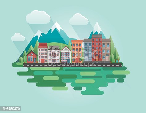 istock Flat Design Cityscape with Mountains 546180370