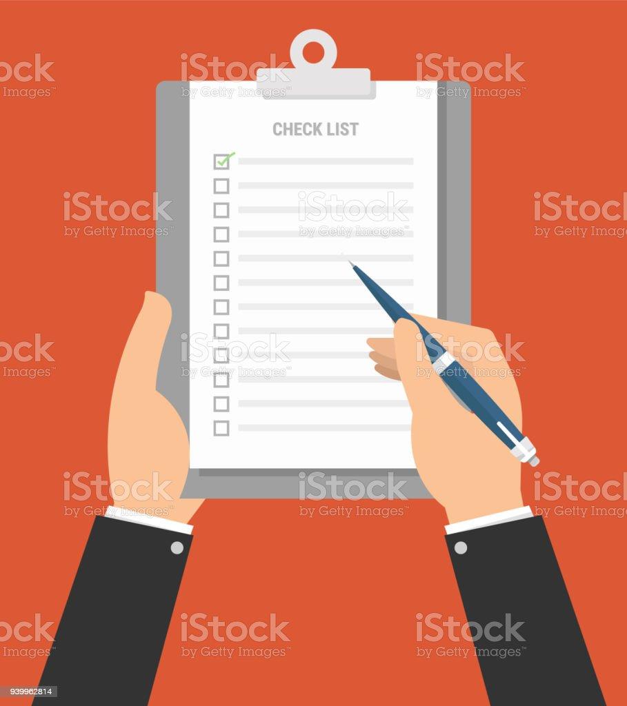 Flache Bauweise Zwischenablage Checkliste Produktivität Hand ...