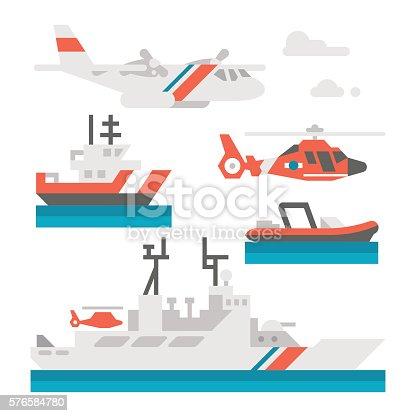 Flat design coast guard vehicle illustration vector