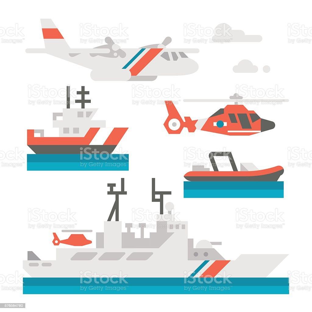 Flat design coast guard vehicle vector art illustration