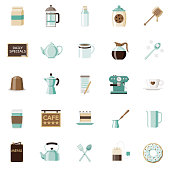 A set of 25 coffee and tea flat design icons on a transparent background. File is built in the CMYK color space for optimal printing. Color swatches are Global for quick and easy color changes.