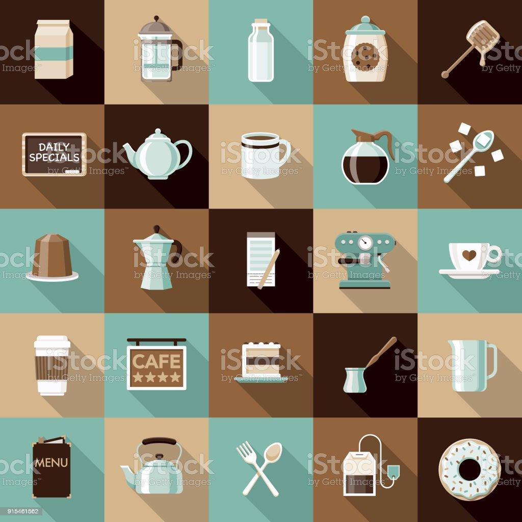 Flat Design Coffee & Tea Icon Set with Side Shadow vector art illustration