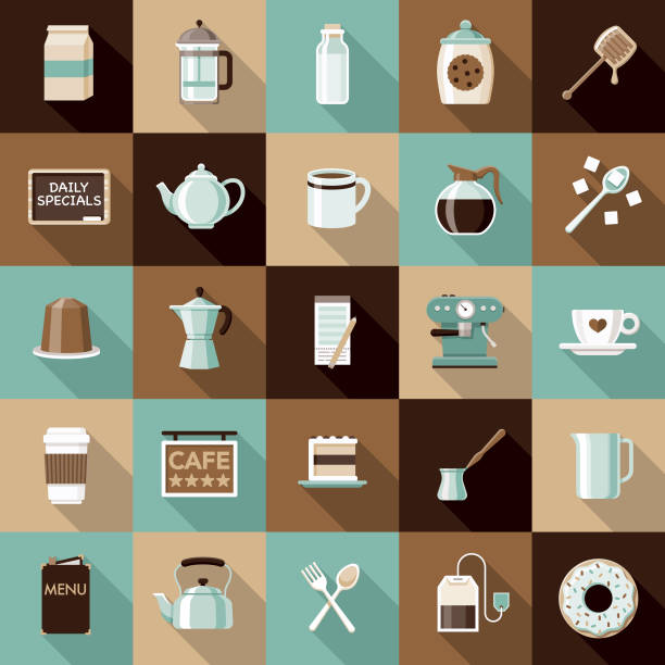 Flat Design Coffee & Tea Icon Set with Side Shadow A set of flat design styled coffee and tea icons with a long side shadow. Color swatches are global so it's easy to edit and change the colors. teapot stock illustrations