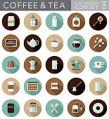 A set of flat design styled coffee and tea icons with a long side shadow. Color swatches are global so it's easy to edit and change the colors.