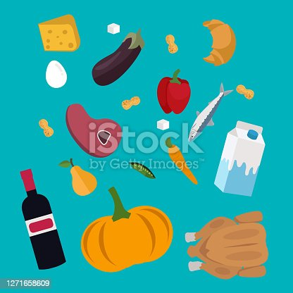 Flat design colored vector illustration of food and drink products falling down