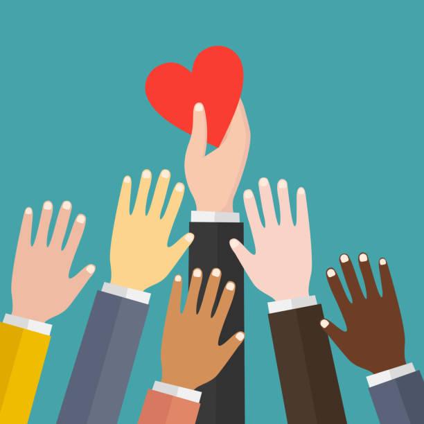 stockillustraties, clipart, cartoons en iconen met platte ontwerp kleurrijke vector illustratie concept voor liefdadigheid, doneren, non-profit organisatie, hulp, zorg, ondersteuning. - non profit
