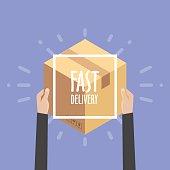 Flat design colorful vector illustration concept for delivery service, e-commerce,