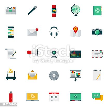 A set of 25 communications flat design icons on a transparent background. File is built in the CMYK color space for optimal printing. Color swatches are Global for quick and easy color changes.