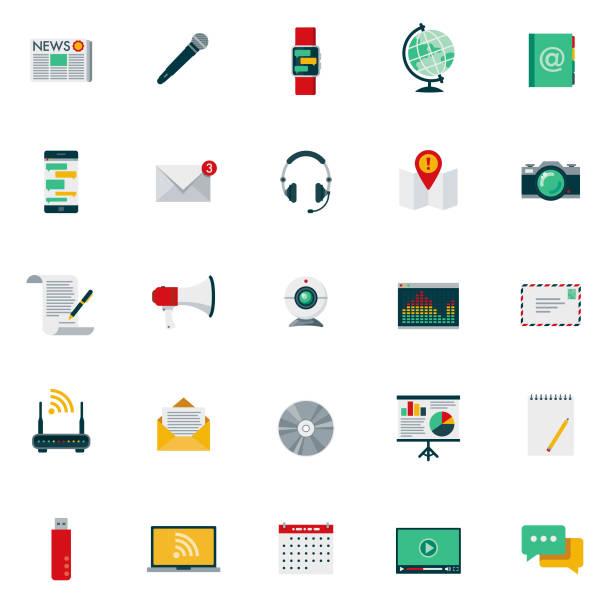 Flaches Design-Kommunikation-Icon-Set – Vektorgrafik