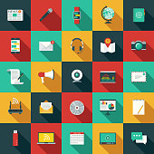 A set of flat design styled communications icons with a long side shadow. Color swatches are global so it's easy to edit and change the colors.