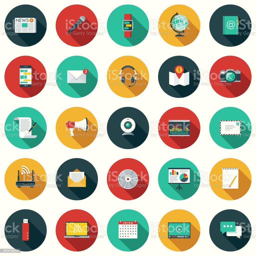 Conjunto de ícones de comunicação Design plano com sombra do lado - ilustração de arte em vetor