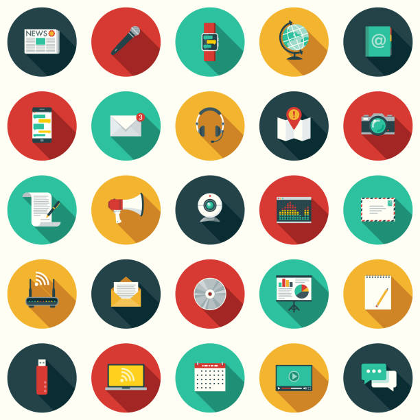 flat design communications icon set with side shadow - electronics stock illustrations