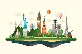 Flat design composition illustration with world famous landmarks