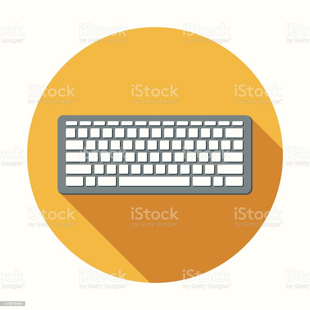 Flat Design Computer Keyboard Icon With Long Shadow vector art illustration