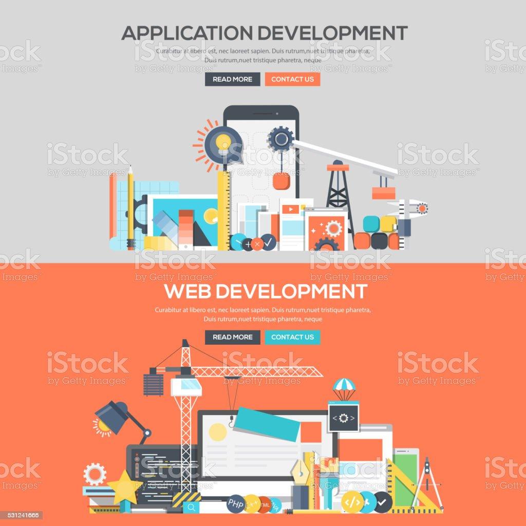 Flat design concept banner - Application Development and Web Development vector art illustration