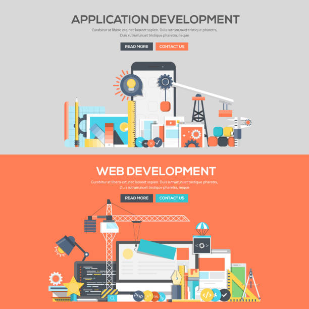 Flat design concept banner - Application Development and Web Development vector art illustration