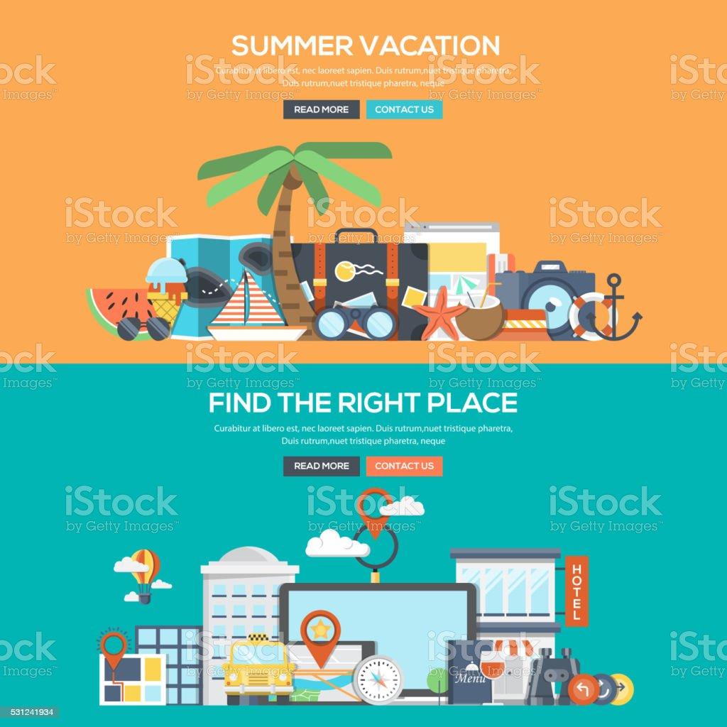 Flat design concept banner - Summer Vacation vector art illustration