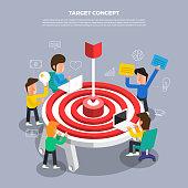"Flat design concept brainstorm working on desktop icon ""Target"". Vector illustrate."