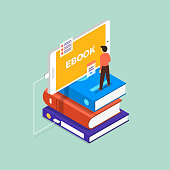 Flat design concept ebook. The man stand on book and mobile device. Vector illustrate.
