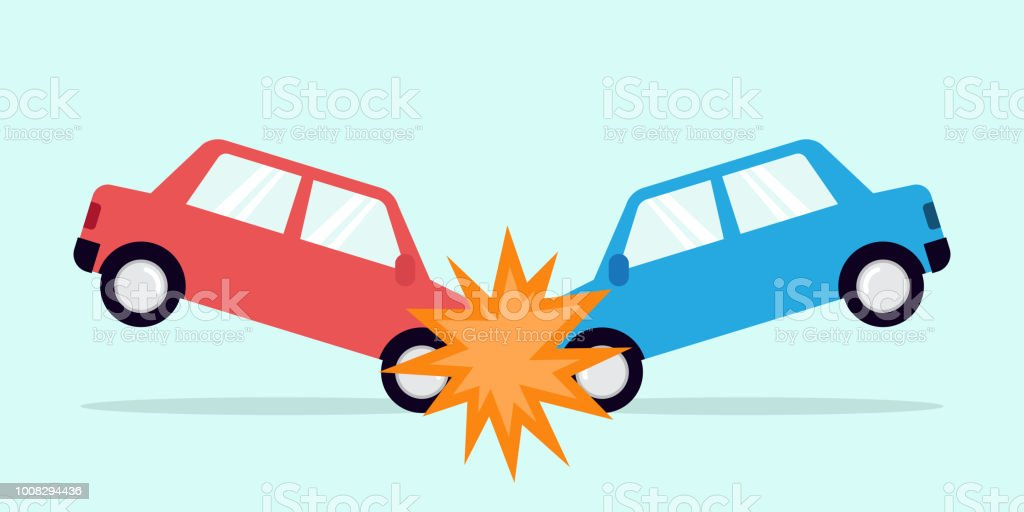 Flat Design Concept For Car Accident Stock Illustration