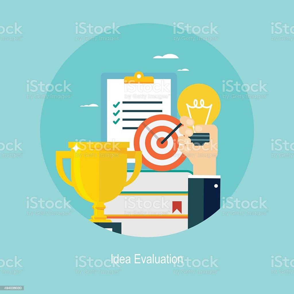 Flat design concept for idea evaluation vector art illustration