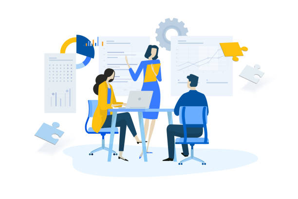 flat design concept of meeting, business presentation, training, annual report - analizować stock illustrations