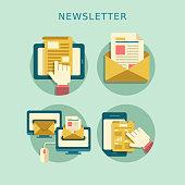 flat design concept of newsletter