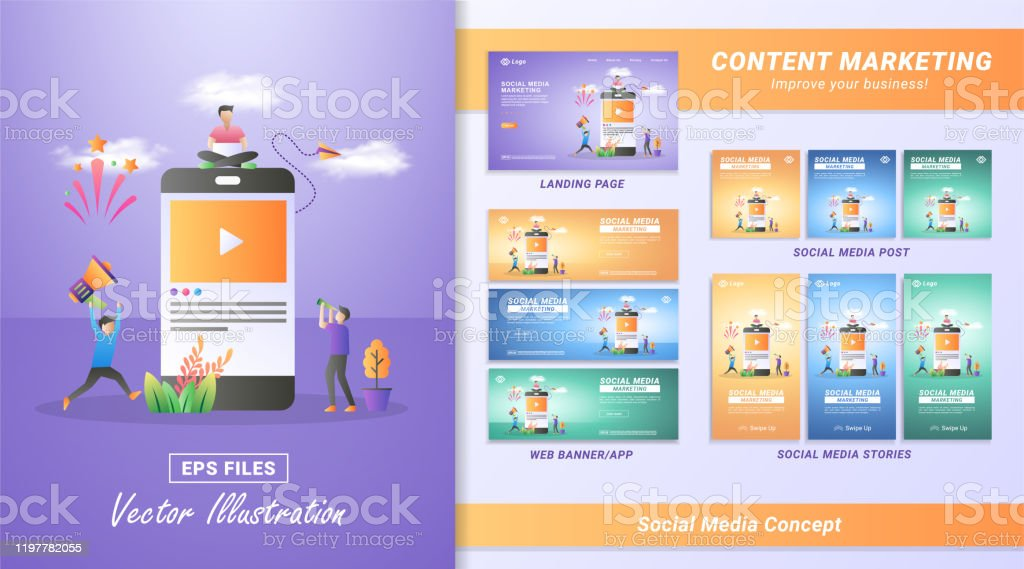 Flat Design Concept Of Social Media Marketing Digital Marketing Refer A Friend On Social Media Sharing Or Writing Comments Can Use For Web Landing Page Marketing Material Mobile App Web Banner Stock
