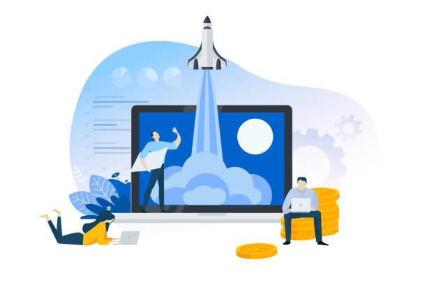 ilustrações, clipart, desenhos animados e ícones de conceito liso do projeto da partida, do produto ou do serviço do lançamento. - startup