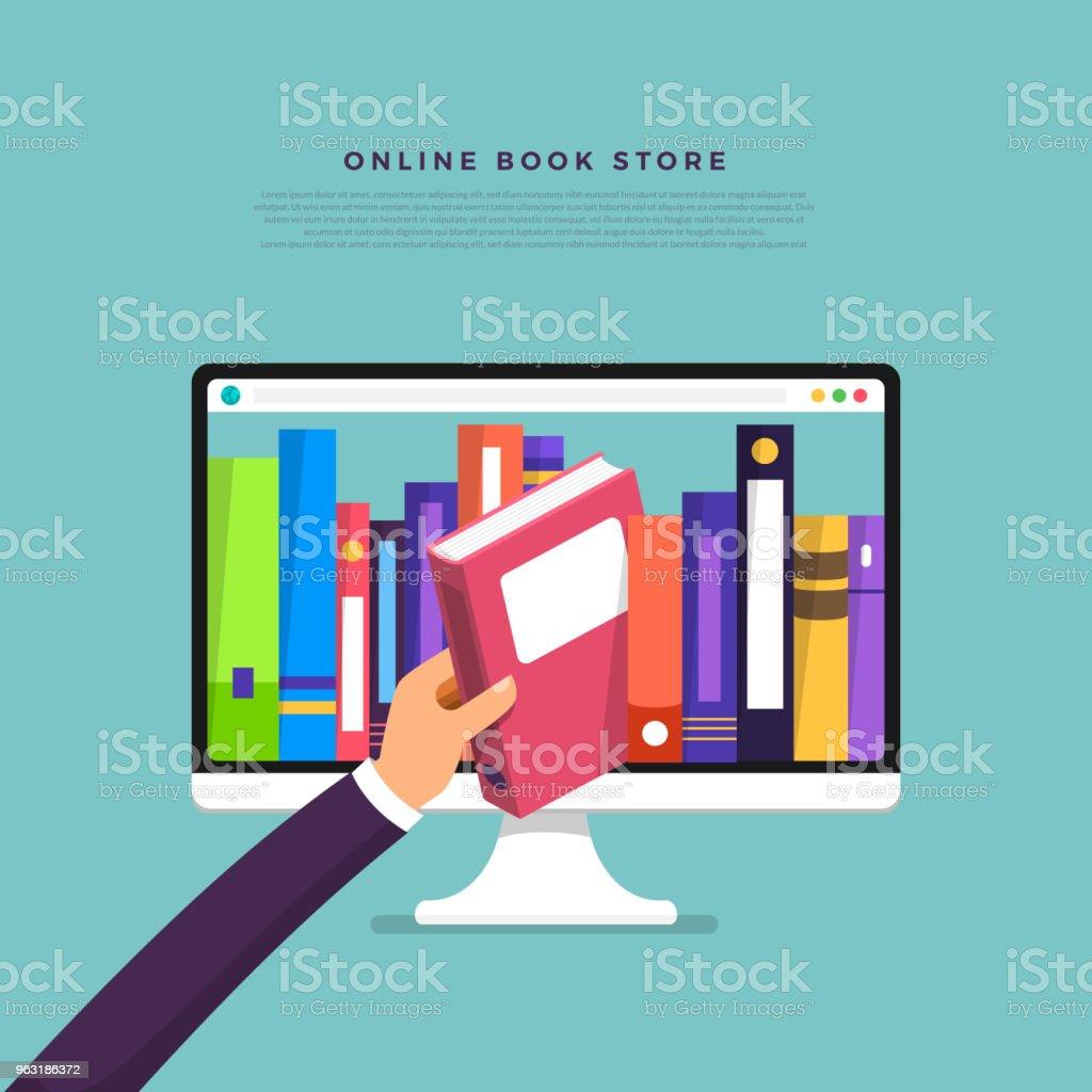 Loja de livros on-line de conceito de design plano. Mão escolher livro de dispositivo de internet. Vetor de ilustrar. - Vetor de Abstrato royalty-free