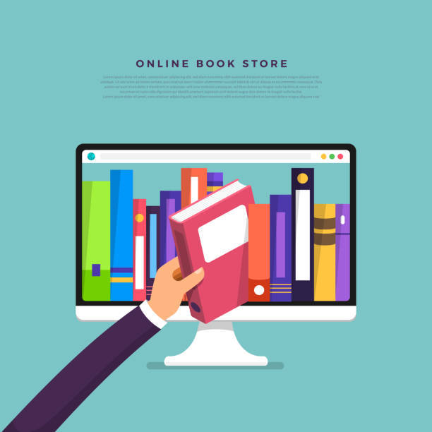 Flat design concept online books store. Hand pick book from internet device. Vector illustrate. Flat design concept online books store. Hand pick book from internet device. Vector illustrate. reference book stock illustrations