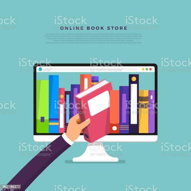 Vetores de Loja De Livros Online De Conceito De Design Plano Mão Escolher Livro De Dispositivo De Internet Vetor De Ilustrar e mais imagens de Abstrato