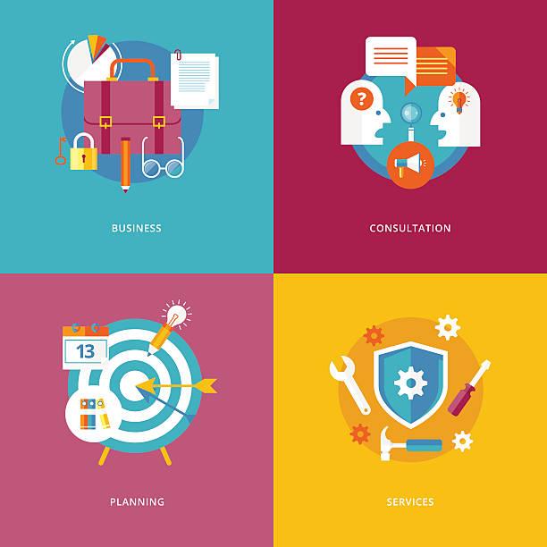 flache design-konzepte für business, beratung, planung und services. - standlautsprecher stock-grafiken, -clipart, -cartoons und -symbole