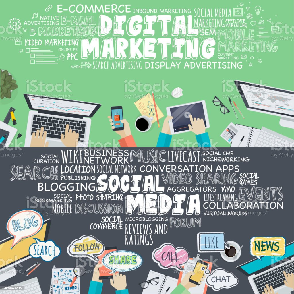 Flat design concepts for digital marketing and social media vector art illustration