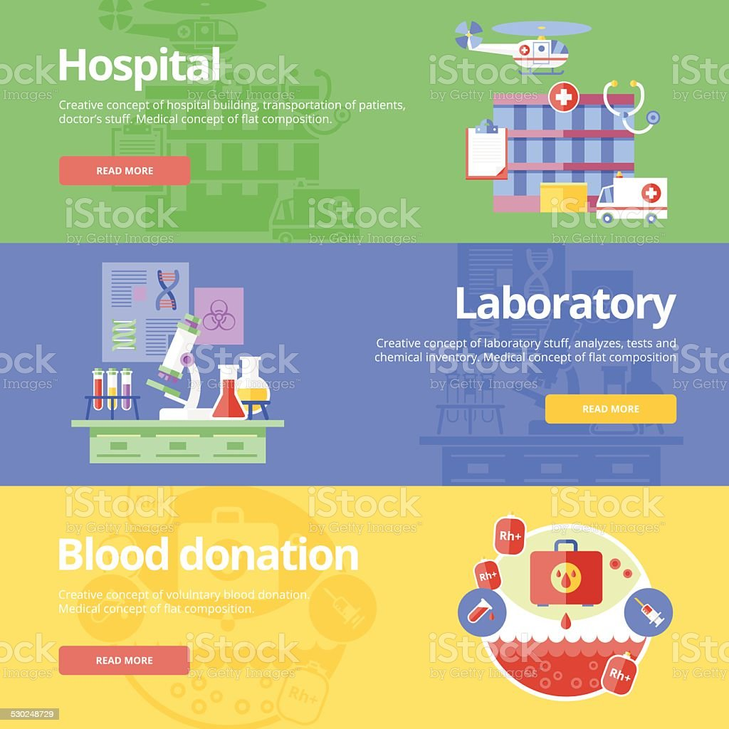 Flat design concepts for hospital, laboratory and blood donation. vector art illustration