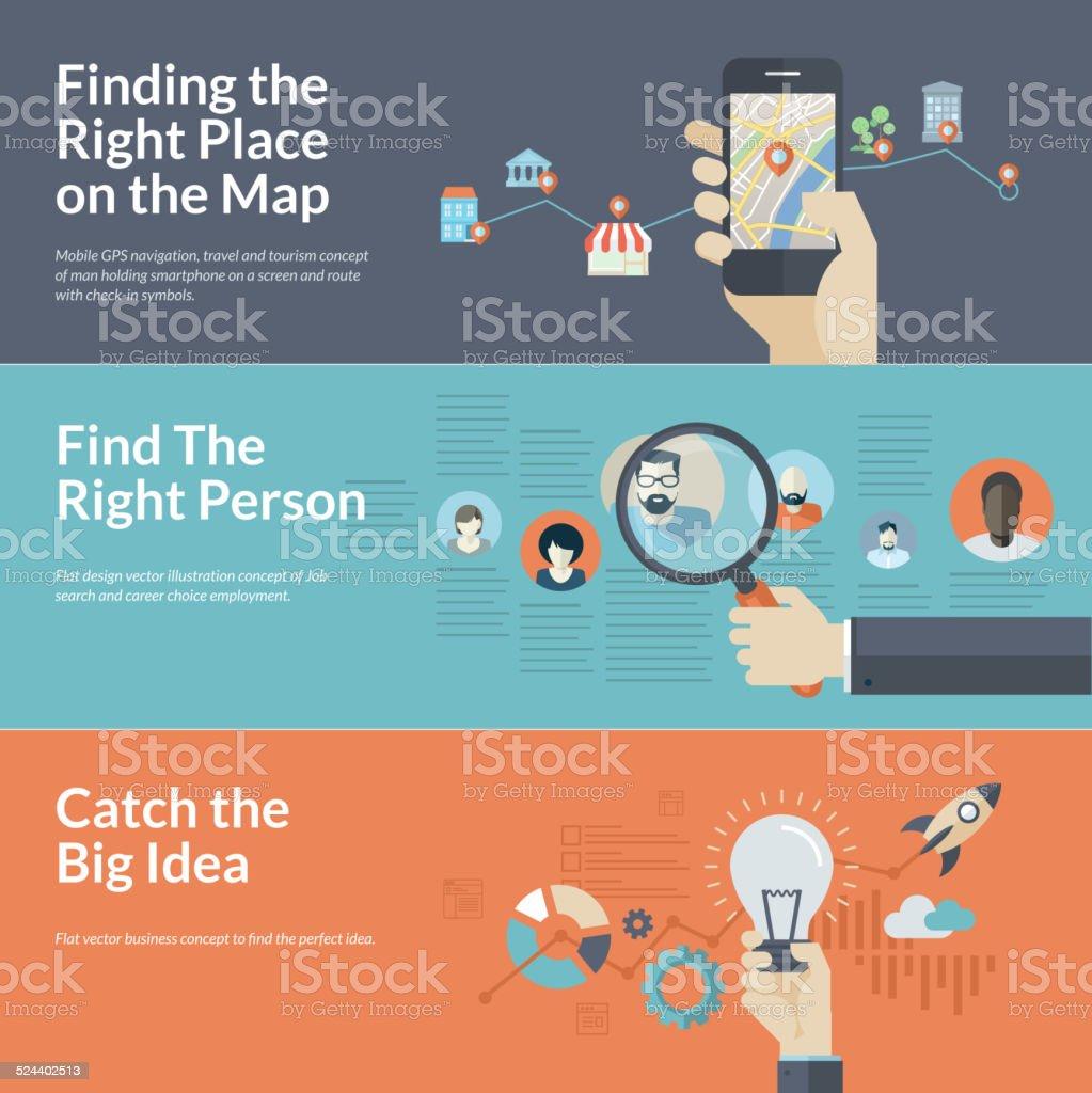Flat design concepts for mobile GPS navigation, career, and business vector art illustration