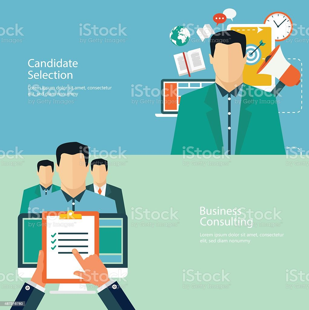 Flat design concepts for promotion and candidate evaluation vector art illustration