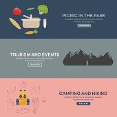Flat design concepts for tourism.