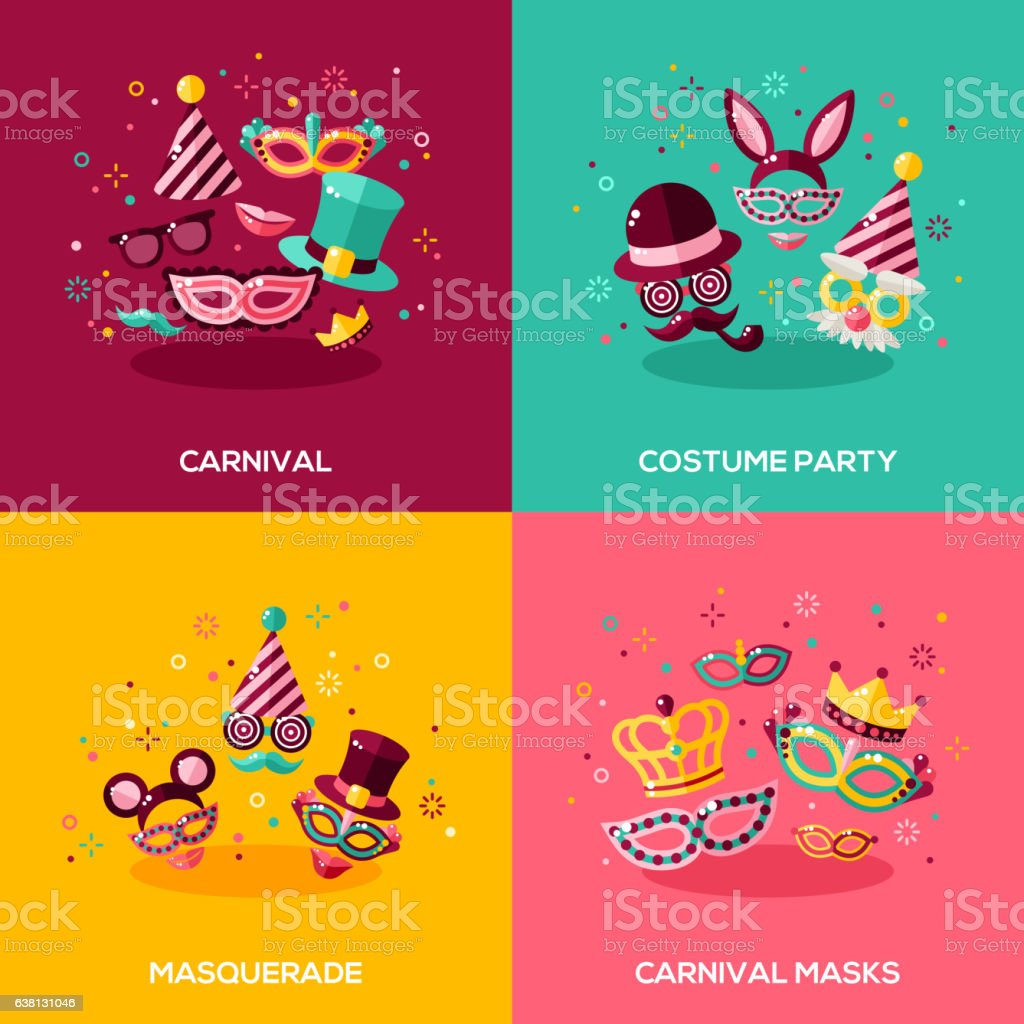 Flat design concepts of carnival vector art illustration