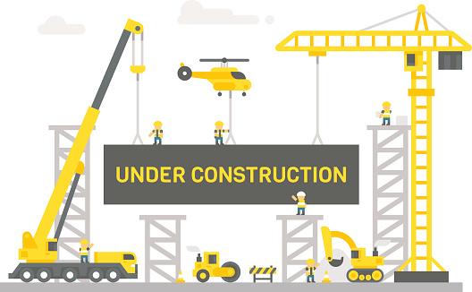 Flat design construction site sign