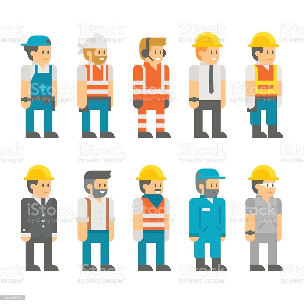 Flat design construction workers set illustration vector vector art illustration