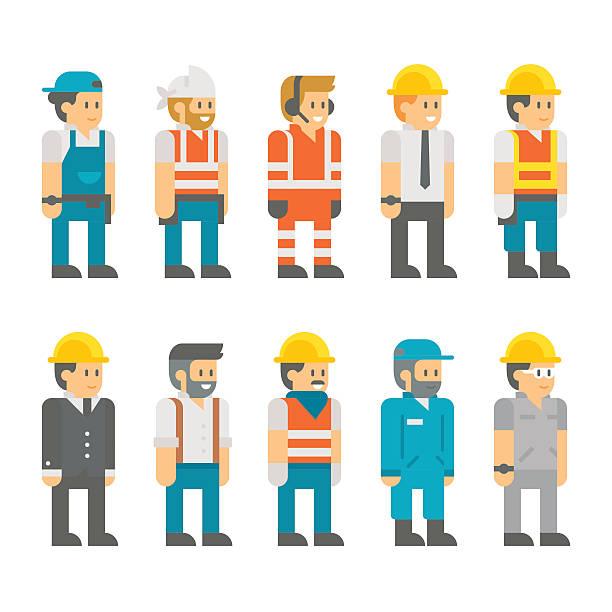 フラットデザインベクトルイラストセットの建設作業員 - 建設作業員点のイラスト素材/クリップアート素材/マンガ素材/アイコン素材