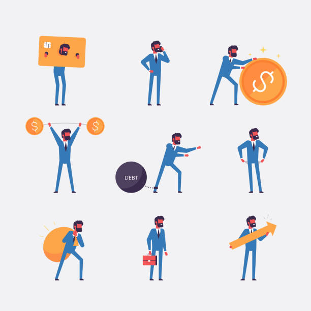flat design corporate business people. full length. different poses and situations. business and finance. set of vector characters. - credit card stock illustrations